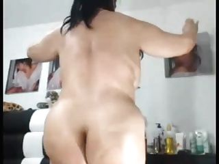 Sexy  Asian  Granny Likes To Flash Her Chubby Rump And Vulva